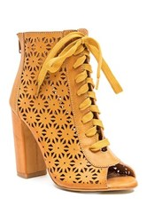 French Blu Lacy Laser Cutout Bootie Brown