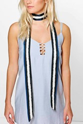 Boohoo Blurred Stripe Skinny Satin Scarf Multi