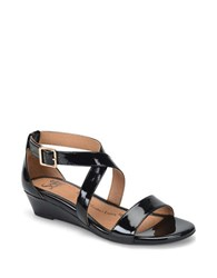 Sofft Innis Leather Slingback Wedge Sandals Black