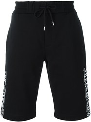 Mcq By Alexander Mcqueen Goth Tattoo Print Track Shorts Black