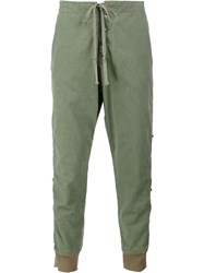 Greg Lauren Cropped Track Pants Green