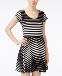 Planet Gold Juniors' Cap Sleeve Striped Fit And Flare Dress Black White