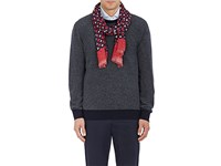 Isaia Men's Dotted Cashmere Wool Scarf Red