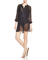 Tommy Bahama Chiffon Mandarin Collar Tunic Swim Cover Up Black