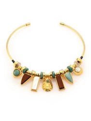 Lizzie Fortunato Azure Seas Turquoise Light Green Aventurine Mother Of Pearl And Wood Collar Necklace Gold Multi