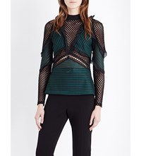 Self Portrait Forest Mesh Blouse Forest Green