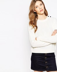 Le Mont St Michel Merino Wool Mix Jumper Offwhite