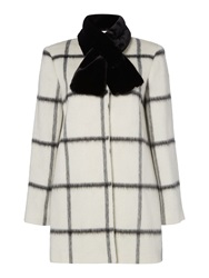 Linea Window Pane Check Coat With Faux Fur Collar White
