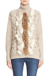 Belstaff Women's 'Katie' Wool And Cashmere Sweater With Leather And Genuine Coyote Fur Trim Chalk White