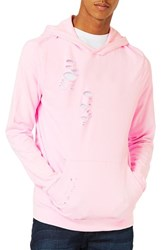 Topman Men's Distressed Oversize Hoodie Pink