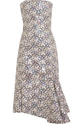 Balenciaga Embellished Embroidered Cotton Canvas Dress Silver