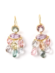 Marie Helene De Taillac 'Gabrielle' Yellow Gold And Tourmaline Earrings Multicolour