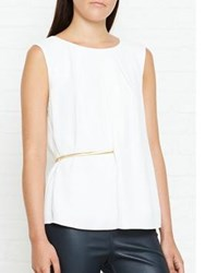 Reiss Jenna Short Sleeve Top With Waist Belt Off White