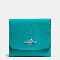 Coach Small Wallet In Crossgrain Leather Silver Turquoise