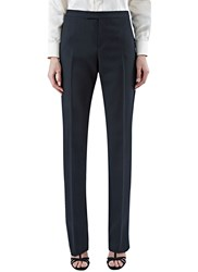 Saint Laurent Straight Leg Satin Trim Pants Black