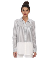 Equipment Reese Stripe Button Up Bright White Peacoat Women's Long Sleeve Button Up Gray