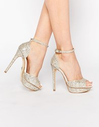 Lipsy Molly Silver Glitter Platform Heeled Sandals Silver