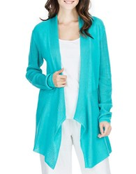 Joan Vass Striped Mesh Paneled Cardigan Teal Ocean