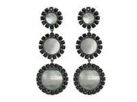 Tory Burch Deco Flower Drop Earrings Dark Mother Of Pearl Black