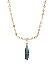 Eva Hanusova Opal And Blue Kyanite Pendant Necklace Gold Blue