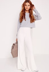 Missguided Wide Leg Crepe Trousers White White