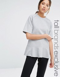 Adpt Tall Drop Waist Raglan Short Sleeve Sweat Grey