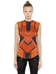 Balmain Sleeveless Printed Cotton T Shirt