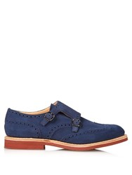 Church's Kelby Suede Monk Strap Shoes Blue