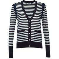 Sonia By Sonia Rykiel Women's Bicolor Striped Cardigan Navy White