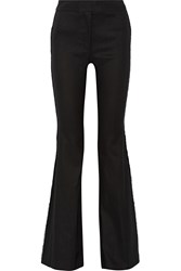 10 Crosby By Derek Lam Grommet Embellished Linen Blend Wide Leg Pants Black