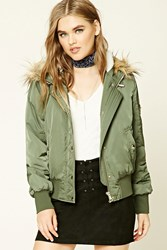 Forever 21 Padded Faux Fur Lined Jacket Olive
