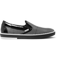 Jimmy Choo Grove Checked Leather Slip On Sneakers Black