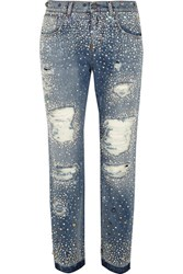 Dolce And Gabbana Swarovski Crystal Embellished Distressed Boyfriend Jeans Mid Denim