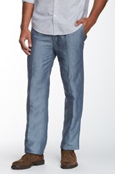 Louis Raphael Solid Straight Fit Flat Front Pant Blue