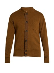 Oliver Spencer Milano Grosgrain Detail Merino Wool Cardigan Brown