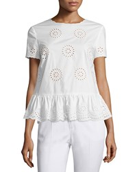 Red Valentino Sangallo Cotton Lace Peplum Blouse Women's Size 42 4 White