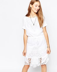 Ichi Short Sleeve Shift Dress With Lace Detail White