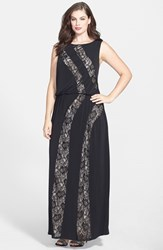 Plus Size Women's London Times Lace Inset Jersey Gown Black
