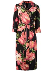 Dolce And Gabbana Tulip Print Belted Dress Black