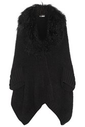 Fendi Shearling Trimmed Wool Blend Cardigan Black