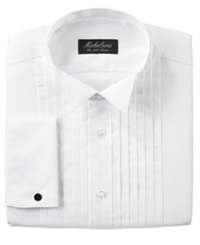 Michelsons Of London Pleated Wing French Cuff Tuxedo Shirt White
