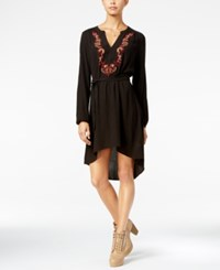 Jessica Simpson Jaelyn Embroidered High Low Peasant Dress Black