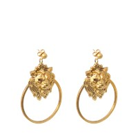 Ela Stone Lion Hoop Earrings