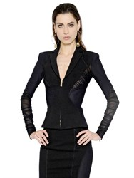 Versace Tulle Mesh And Stretch Jersey Jacket