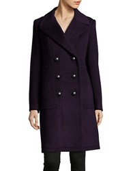 Elie Tahari Solid Double Breasted Coat Bordeaux