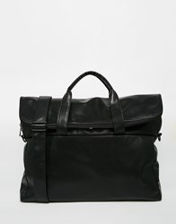 Asos Satchel In Black Faux Leather With Zip Top Opening Black
