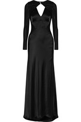 Catherine Deane Chantelle Embellished Cutout Satin Gown Black