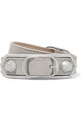 Balenciaga Triple Tour Textured Leather And Silver Tone Bracelet