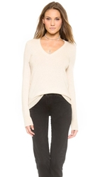 Equipment Cecile V Neck Cashmere Sweater Heather Oatmeal