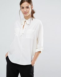 Abercrombie And Fitch Chiffon Tie Front Blouse Multi White